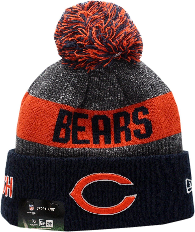 12d165533ef Get Quotations · Chicago Bears 2016 Sport Pom Knit Hat On-Field C Logo  Block 12265