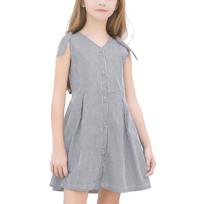 Gouache Girls Dress Summer Cotton Children Dress Sleeveless Kids Dress for Girls Clothes Casual