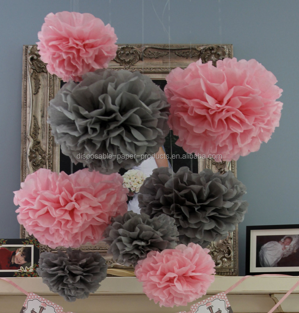 Birthday party backdrop tissue paper pom poms product on alibaba com - Pink Theme Party Ideas Tissue Paper Pom Poms Honeycomb Balls Paper Lanterns Baby Shower Decorations