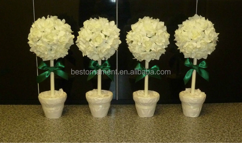 Foam Rose Topiary Trees Wedding Centrepiece