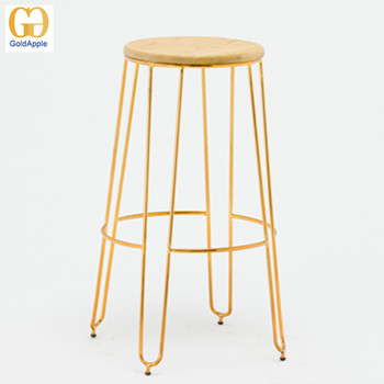 Modern Appearance Furniture Metal Wire Bar Stool Gold Color Kitchen