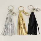 Hot sale wholesale custom fashion silver gold black faux leather tassel keychain