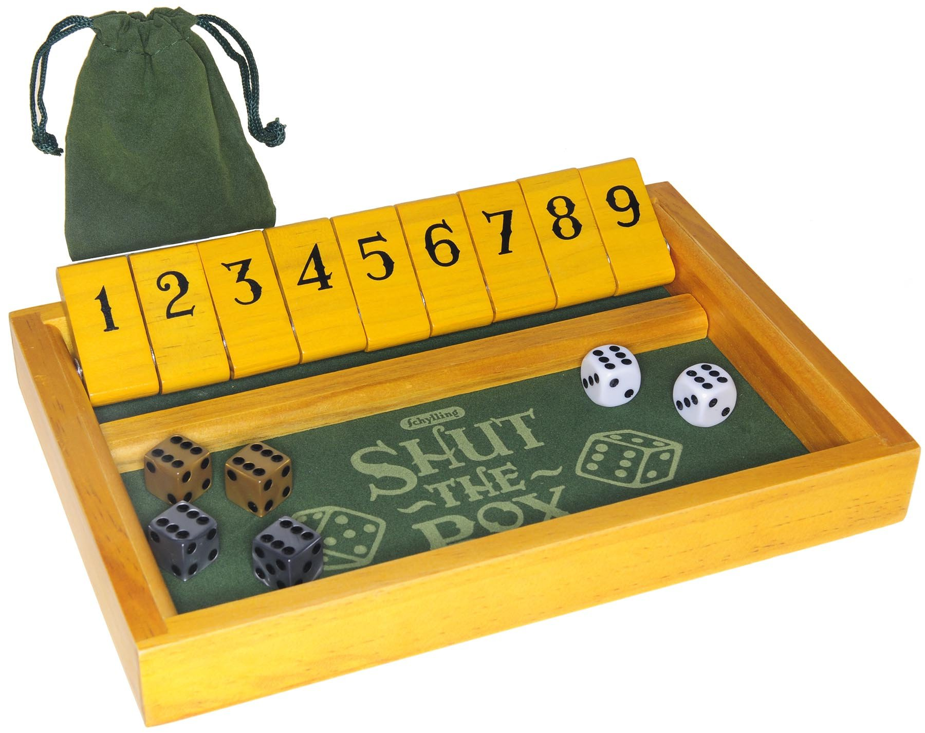 Shut the Box Wood Game _ Bonus 2 Gold Swirl D6, and 2 Silver Swirl D6 16mm Game Dice _ Bundled Items