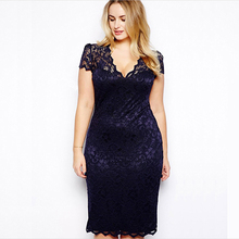 Fashion Fat Women Dresses Pictures Ladies Elegant V Neck See Through Pencil Plus Size Lace Mature Sexy Dress