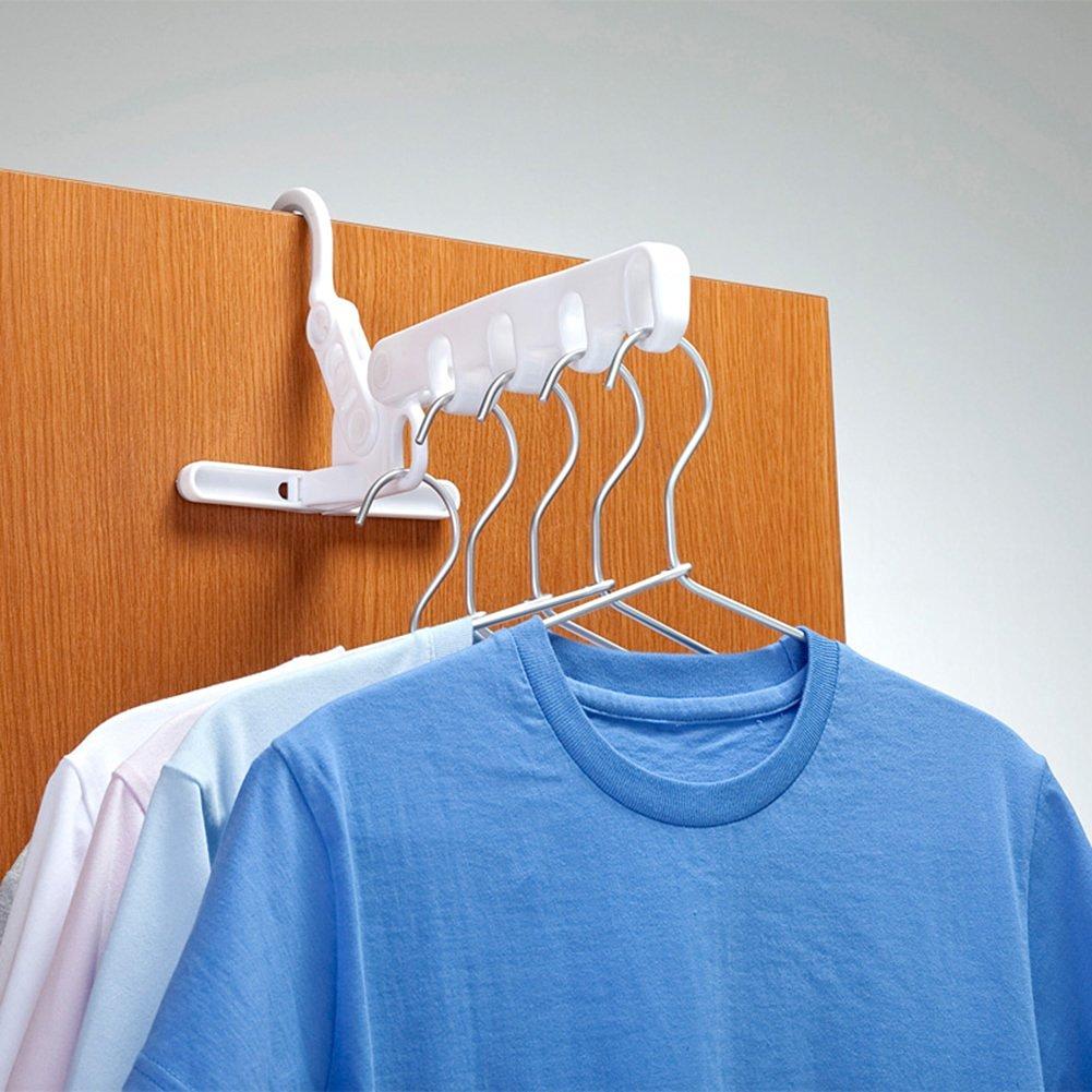 Arbor Home Plastic Over The Door Hanger 5 Hole Hooks Retractable Clothes Indoor Rack Folding