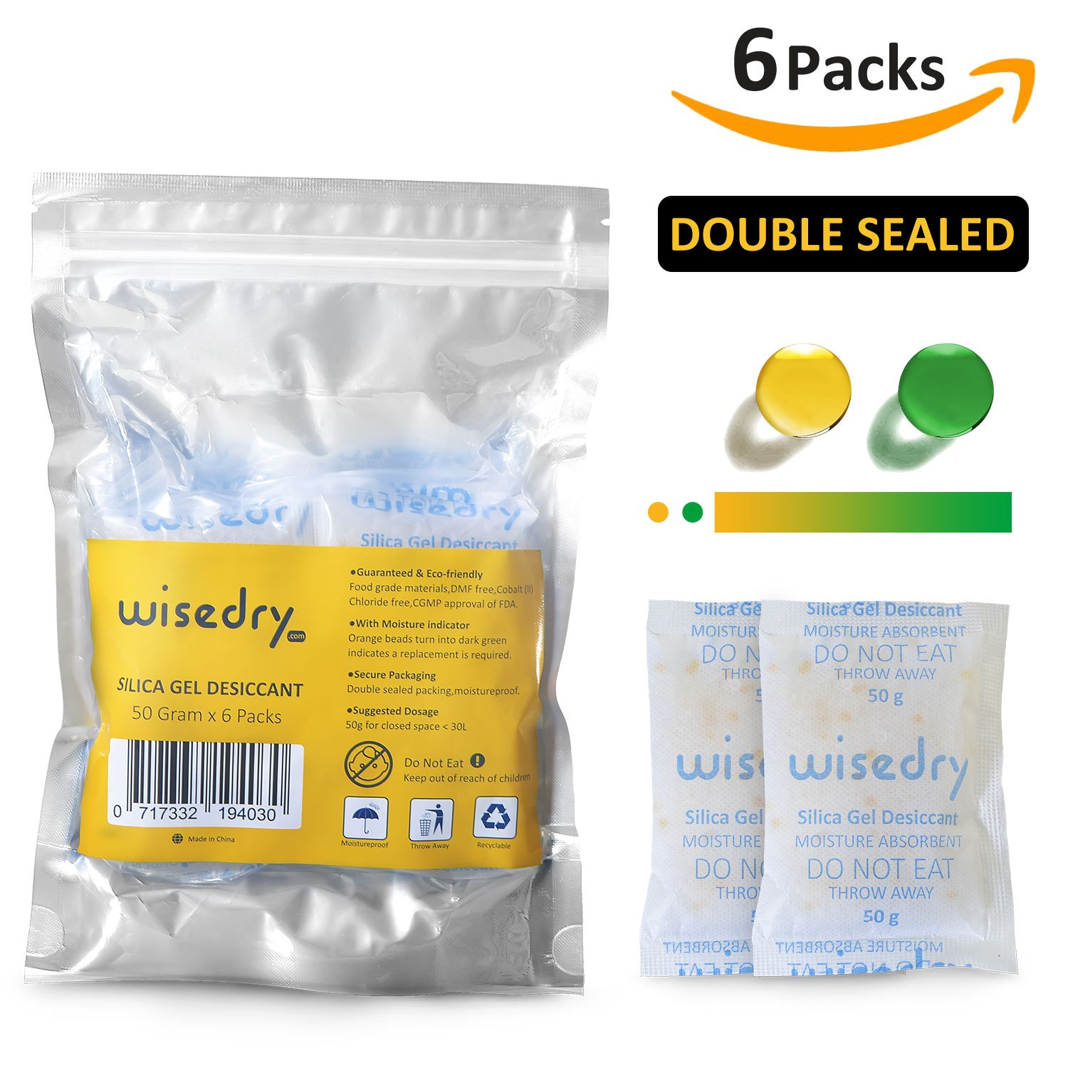50 Gram [6 PACKS] Silica Gel Desiccant Packets with Orange Beads Humidity Indicator Safe Double Packed for Air Dryer Moisture Removal, Food Grade …