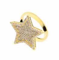 Christmas gift big micro pave cz sparking star charm high qualty men women gift hip hop gold ring