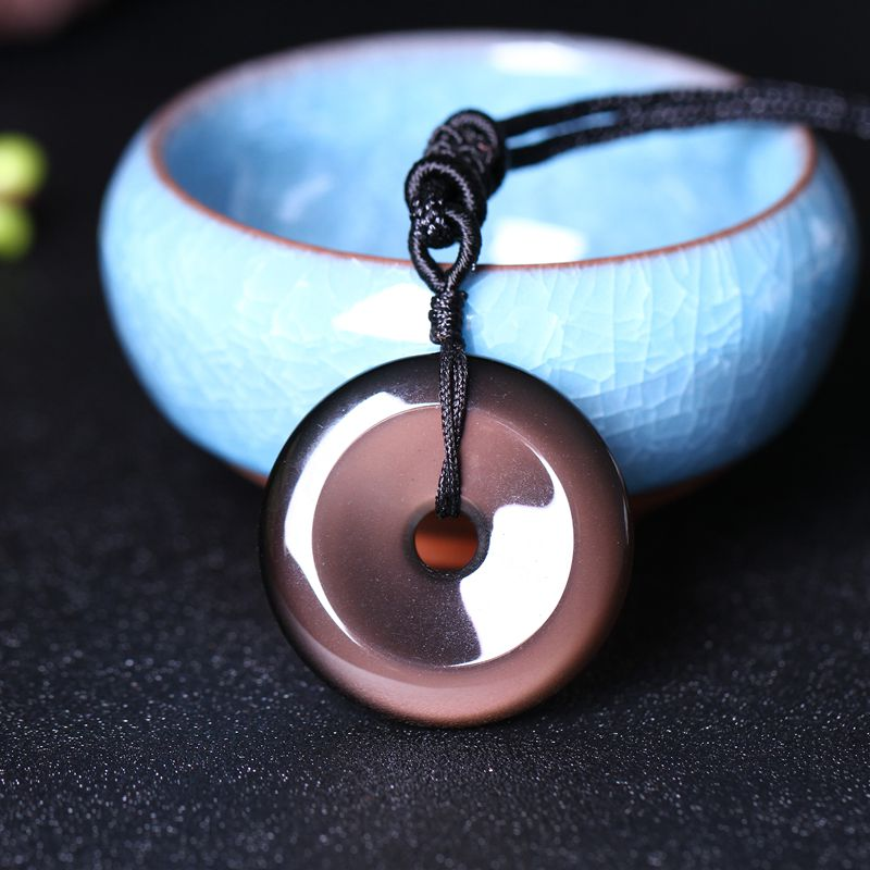 Open the light Natural Obsidian Rainbow Eyes Stone Necklace safe buckle pendant Women Men Obsidian Beads Chain Fashion Jewelry
