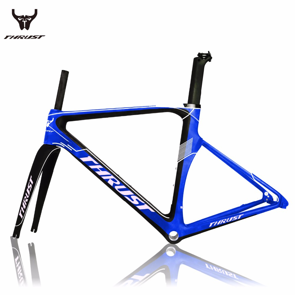 Thrust new design carbon road frame frameset sample black and white color style Suitable Derailleur Di2 And Mechanical Road bike