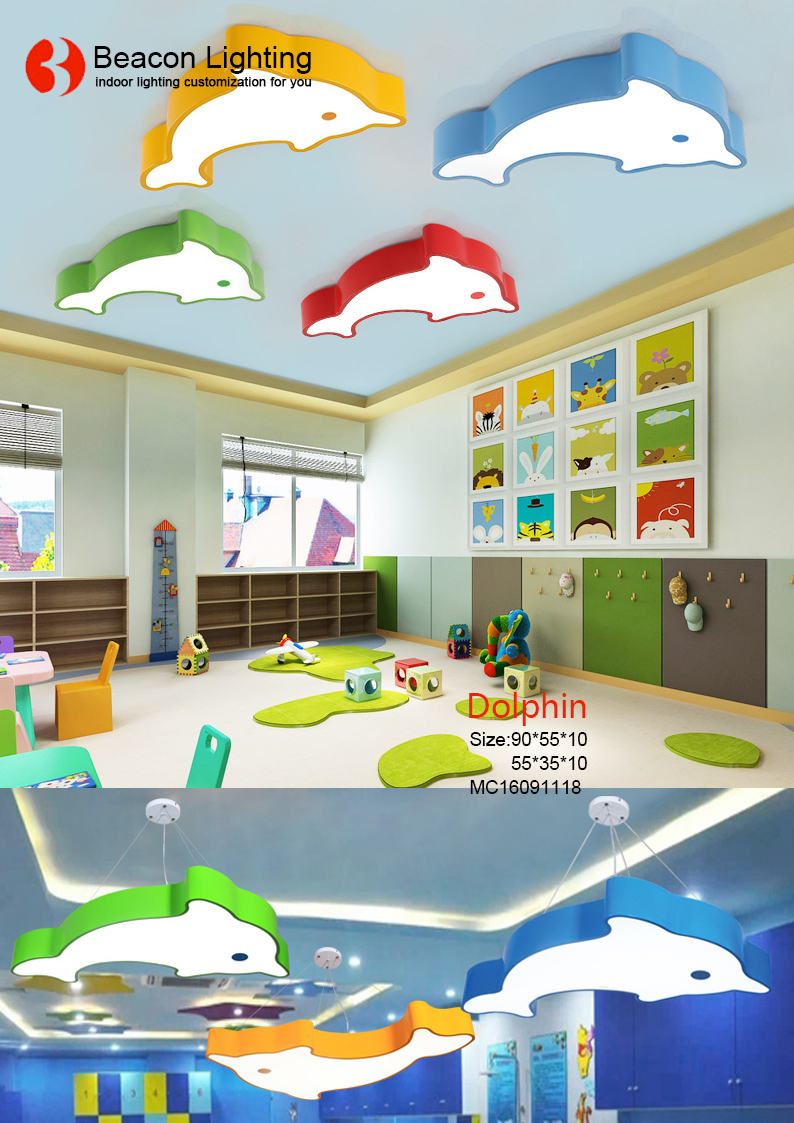 personalized blue color starfish kids led ceiling light lamp for children's bedroom kindergarten child center infants' s school