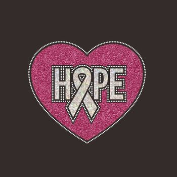 Hope Glitter Pink Glitter Iron on Rhinestone Ribbon Breast Cancer Rhinestone Motif Designs for T-shirt and Bags
