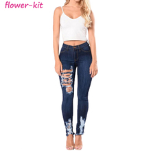 <span class=keywords><strong>Frauen</strong></span> Klassische Hohe Taille Butt Lift Stretch Ripped Loch <span class=keywords><strong>Frauen</strong></span> Hosen Dünne <span class=keywords><strong>Denim</strong></span> Damen Jeans