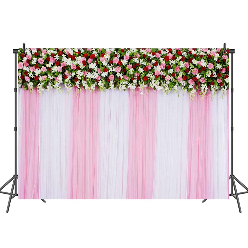 Mehofoto Beautiful Floral Backdrop Curtain Pink and White Flower Bridal Shower Photo Backdrops Wedding Birthday Party Decoration Background for Photography 7x5