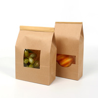 Kraft paper corn snacks square packing zipper bag with a transparent window.