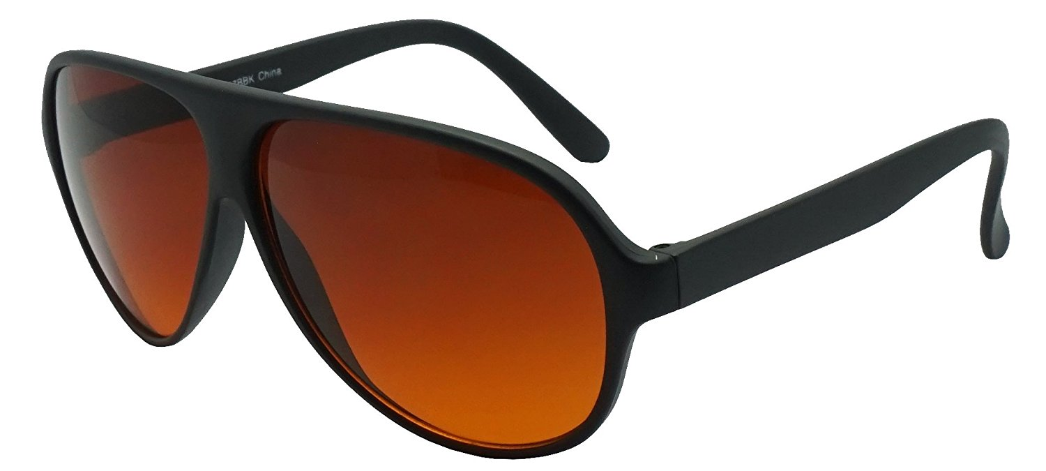 10a554fd95 Get Quotations · SunglassUP - Blue Blocking Oversized Bomber Aviator  Sunglasses Amber Tinted Lens