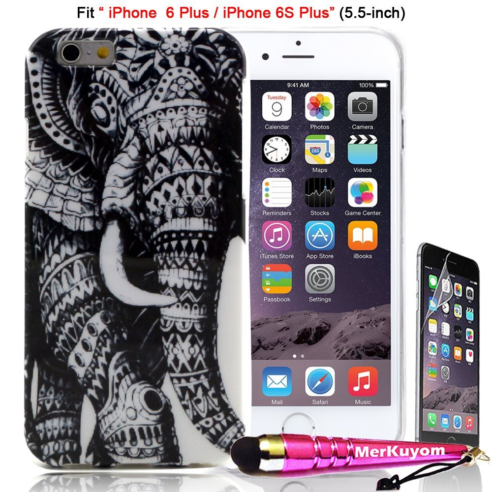 Fit [iPhone 6S Plus / iPhone 6 Plus], MerKuyom® [Slim-Fit](5.5-inch) [6/6S Plus] Case Protector, [Cool Elephant] [Flexible Gel] Soft TPU Skin Cover For iPhone 6S Plus, iPhone 6Plus,+ Stylus