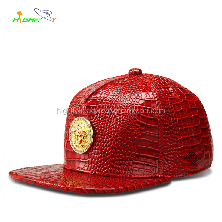 91ed2e831c1 wholesale red snakeskin leather snapback hat cap with metal plate logo  custom made your own design woven label on side hat cap