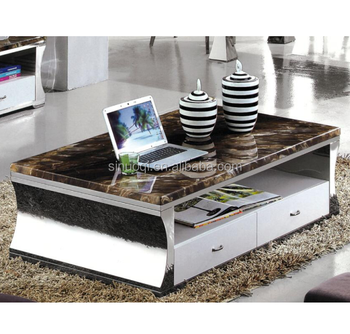 Hardware Furniture Italian Marble Coffee Table Centre Fancy End With Stainless Steel Base