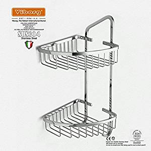 VIBORG-HK Deluxe Solid Thick Sus304 Stainless Steel Wire Wall Mount Mounted Double Tier Corner Shower Basket, Shower Basket Shelf Tidy Rack Shower Caddy Storage Organizer, Polished Mirror-like, Xs-803-pss