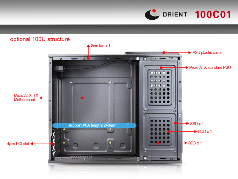 Slim Micro Atx Case With Chassis Size L400 W104 H325mm