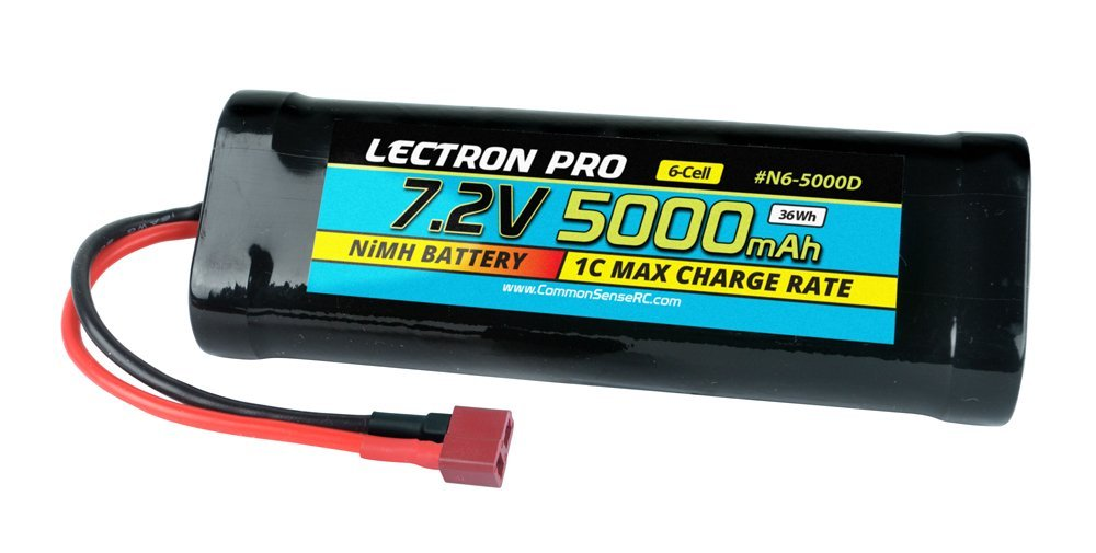 Common Sense RC Lectron Pro NiMH 7.2V 6-cell 5000mAh Flat Pack with Deans-Type Connector for 1/10 Scale Cars, Trucks, and Buggies