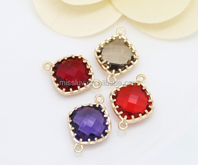 wholesale rhombus crystal bead charm jewelry connector bezel gemstone bead charms with gold plated brass frame