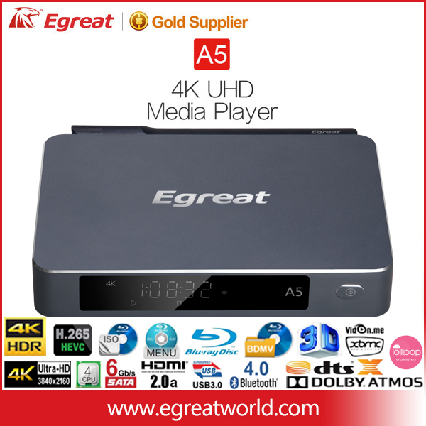 "Egreat A5 4k Android TV box 3D Blu-Ray 3.5""HDD MKV Media Player SATA HDMI2.0 full hd IPTV"