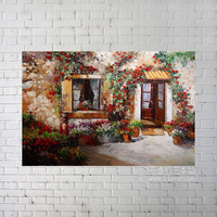 Beautiful flowers garden house landscape oil painting