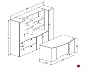 Peblo Executive Office Desk Workstation, Credenza Wardrobe Storage
