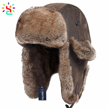 Wholesale Russian fur hat custom pattern cowhide leather Russia ushanka  women hats winter Antarctic warm ushanka e51b1aa78f3