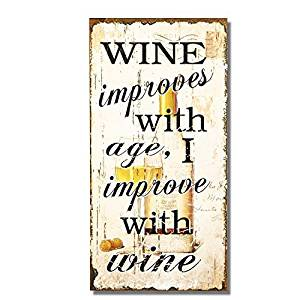 """Adeco Decorative Wood Wall Hanging Sign Plaque """"Wine Improves With Age"""" Off White Black Home Decor"""