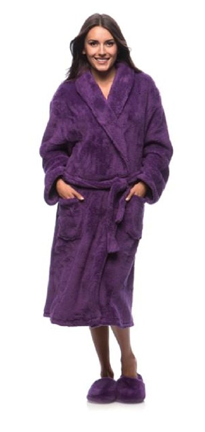 a78f2db529 Get Quotations · Buyers Corner Women s Plush Bathrobe and Slipper Set