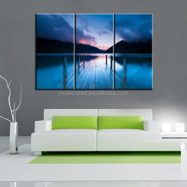 Multiple panels digital print canvas blue color sunset canvas print modern wall paintings free shipping canvas
