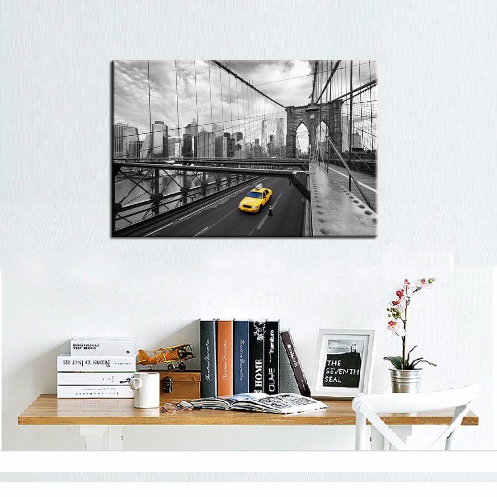 Schwarz Und Weiß Brooklyn Helle Leinwand Wandkunst New York Gelb ...