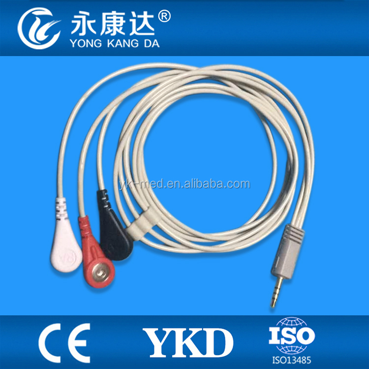 One piece 3 lead Hoter Ecg Cable with mobile plug.CE &ISO13485.
