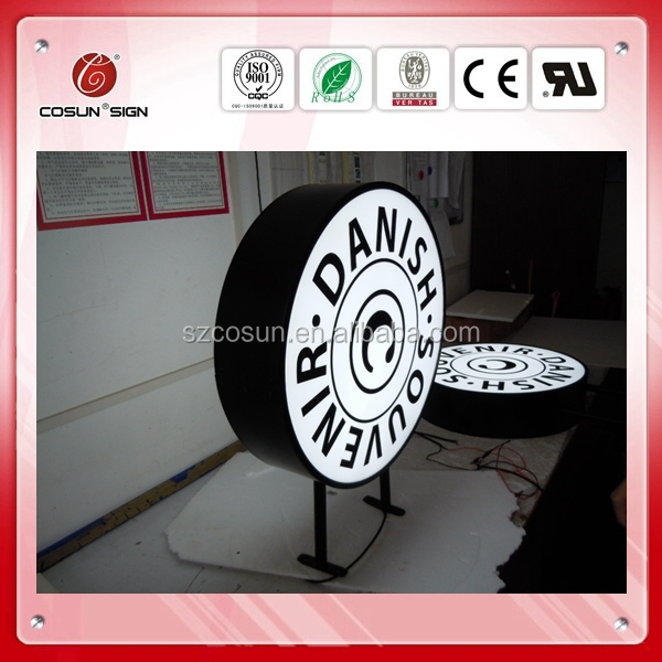 Saving energy round shape acrylic vacuum formed light box for shop