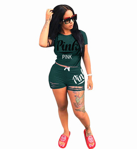 Summer Two Piece Outfits For Women Tracksuit 2 Piece Set Plus Size Pink Letter Print T Shirt Top And Shorts Ripped Suit Blue
