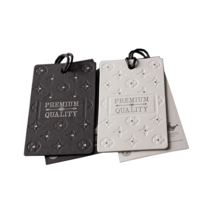 Fancy Embossed Garment Hang Tags with string