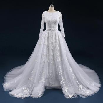 Asa-515 Lace Fabric Wedding Dress Detachable Train Wedding Gown ...