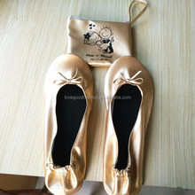 Champagne Gold Folding Ballet Pumps Wedding Comfortable Foldable Flat Shoes