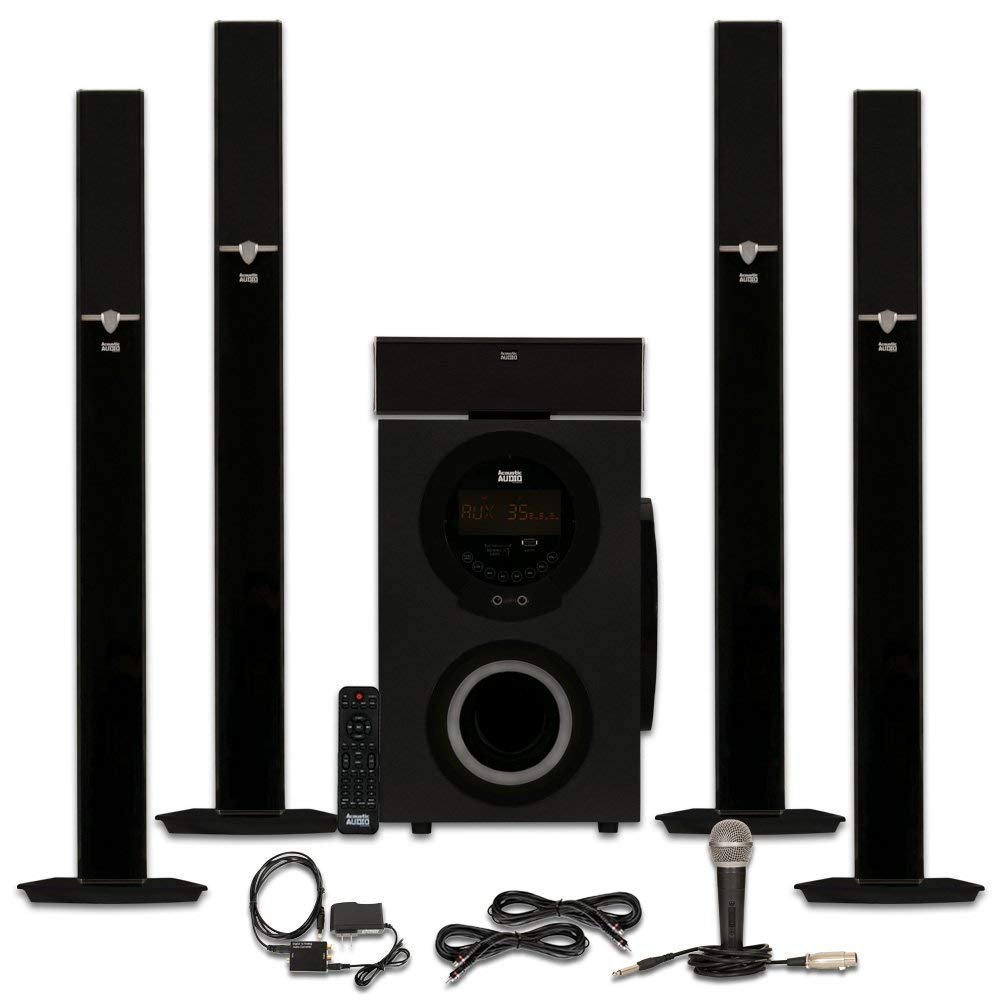 Acoustic Audio AAT3003 Tower 5.1 Bluetooth Speaker System with Optical Input Mic and 2 Extension Cables