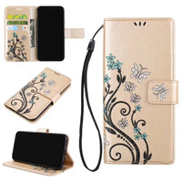 2018 Wholesale Embossed Flower Butterfly Flip PU black Leather stand phone case for iPhone X