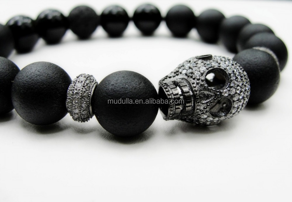 mens drop hearts chrome cross dp onyx bracelet beads silver black