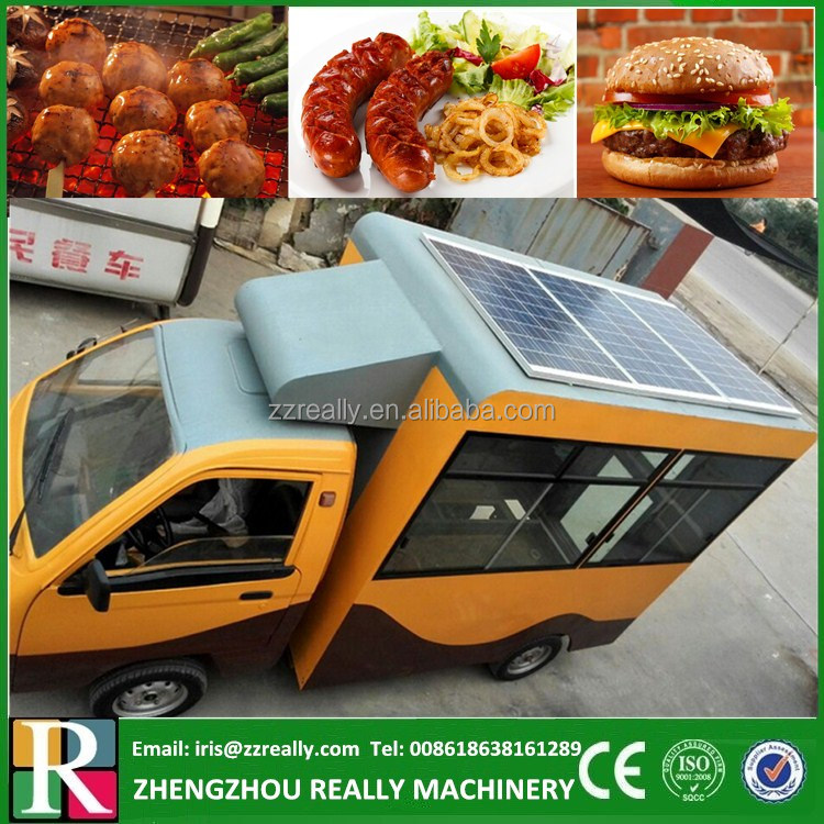Solar power mobile electric food truck / bbq food cart for sale CE