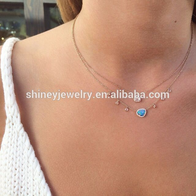100% 925 sterling silver drop shipping prong setting cubic zirconia cz chain minimalist bead necklace designs
