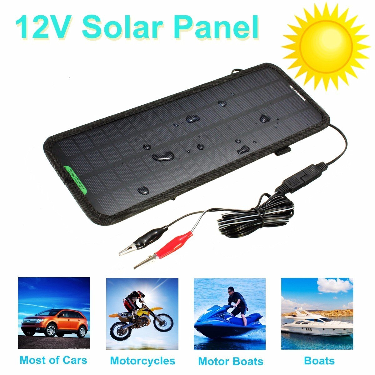 AUDEW 12V 4.5W Battery Charger Portable Car Power Solar Panel Battery Backup Charger For Car/ Boat Snowmobiles/Tractors/Camping/Motorcycles