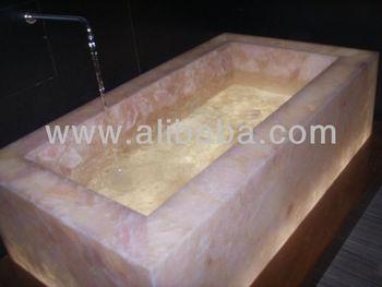 Amazing Gemstone Rose Quartz In Gemstone Bathtub+ Gemstone Washbasin+gemstone Slab
