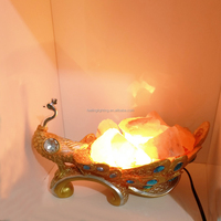New products modern peacock salt table lamp resin light factory on sale