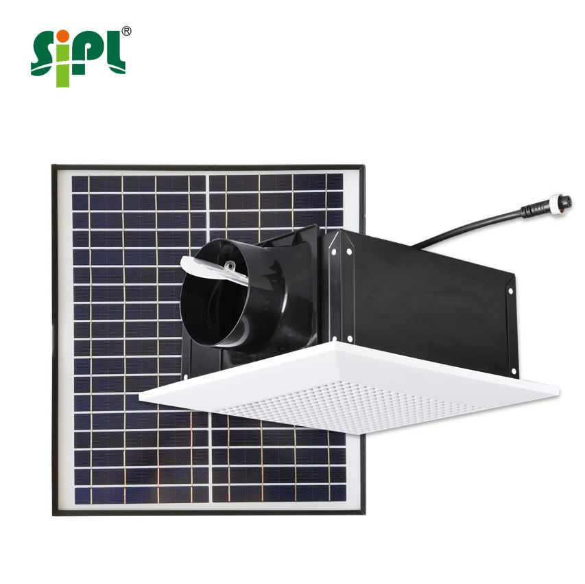 Hvac duct in line ceiling ventilation fan 17w solar - Solar powered bathroom exhaust fan ...