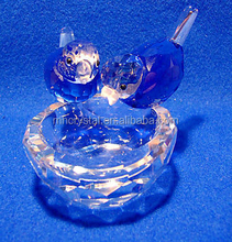 Glass Handcraft Cut Crystal Birds on a Nest - Blue MH-D0230